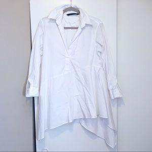 🍂 New! Zara Asymmetrical White Blouse